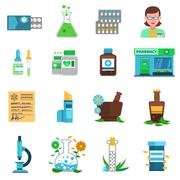Pharmacy Icons Set - stock illustration