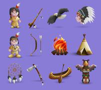 Native American Cartoon  Icons Stock Illustration