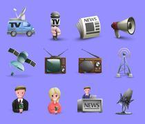Mass Media Icons Set - stock illustration