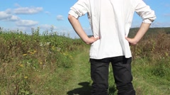 Farmer is watching on his lands Stock Footage