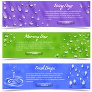 Water Drop Banner Set Stock Illustration