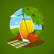 Glass Of Juice With Rural Landscape  Background - stock illustration