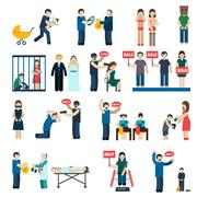 Human Trafficking Flat Icons Set Stock Illustration