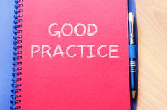 Good practice write on notebook - stock photo