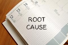 Root cause write on notebook Stock Photos