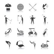 Golf Black White Icons Set Stock Illustration
