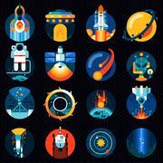 Space icons set Stock Illustration