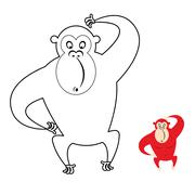Monkey coloring book. Red monkey makes surprise muzzle. Funny primacy of symb - stock illustration