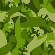 Military pattern dinosaur. Army texture of Tyrannosaurus. Camo background of  Stock Illustration