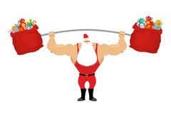 Stock Illustration of Strong Santa Claus holding barbell and gift bag. Sports for Christmas Santa w