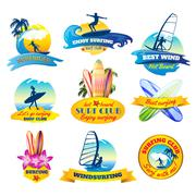 Surfing emblems set - stock illustration