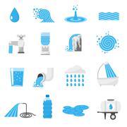 Water icons set Stock Illustration