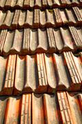 Old roof in italy  texture of diagonal architecture Stock Photos