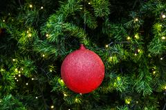 decorated christmas tree with electric light and christmas balls - stock photo