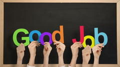 Hands holding up good job - stock footage