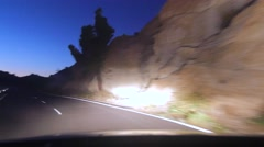 Driving in the mountains at night, Tenerife - stock footage