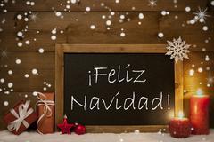 Card, Blackboard, Snowflakes, Feliz Navidad Mean Merry Christmas Stock Photos