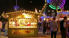 Stock Video Footage of 4K UHD Oktoberfest vendor stall carousel Fairground German Munich Beer Festival