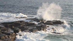 Sea waves breaking on the rocks Stock Footage