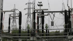 High-voltage disconnector in electrical substation in operation Stock Footage