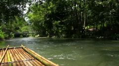 Rafting On A Bamboo Raft Stock Footage