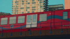 Close-up Shot of a DLR Train Crossing a Bridge Stock Footage
