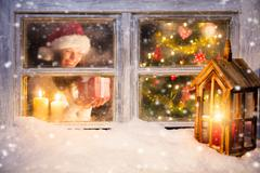 Atmospheric Christmas window still life Stock Photos