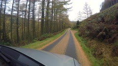 Driving in forest of Snowdonia in autumn Stock Footage