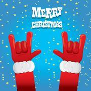 Stock Illustration of Santa Claus hand rock n roll vector illustration