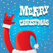 Santa Claus hand rock n roll vector illustration - stock illustration