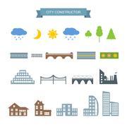 City constructor icons set Stock Illustration