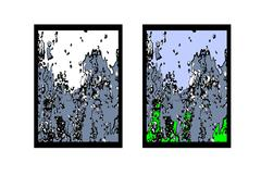 Abstract vector drawing. Tsunami, avalanche falling rocks, the force of nature. Piirros