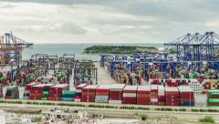 View Of A Large Cargo Port Stock Footage