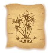 Palm Trees Silhouettes on Old Paper Stock Illustration