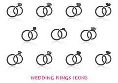 Vector wedding rings icons Stock Illustration