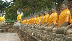 Many Buddha Statues outside a Temple in Southeast Asia Stock Footage