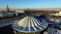 Aerial view of Moscow State Circus and University from a drone Stock Footage