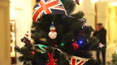 Christmas tree decoration with british flag Stock Footage