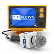 Tv news or report concept. Microphone and television. Stock Illustration