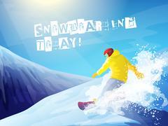 Snowboarding. Snowboarder on mountain. Stock Illustration