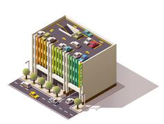 Vector isometric car park - stock illustration