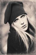 Image with old style portrait of blond woman Stock Photos