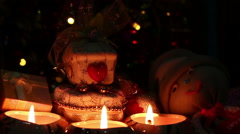 merry christmas of candlelight with Dolly shot - stock footage