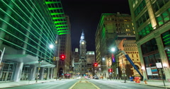 Philadelphia City Hall and Broad Street Timelapse Stock Footage