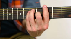 Guitarist Playing On Acoustic Guitar Stock Footage