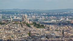 The day view panorama of the Sacred Heart Basilica in Paris Stock Footage