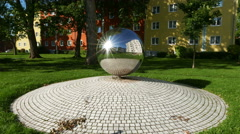 4K UHD Fung-shui Decoration Metal Ball placed in courtyard Garden Stock Footage
