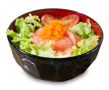 Japanese Cuisine, Steamed Rice Topping with Fresh Salmon, Tomaroes and Green - stock photo
