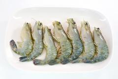 Fresh Gulf Shrimps ready to be grilled - stock photo