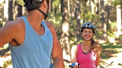 Happy couple with bikes Stock Footage